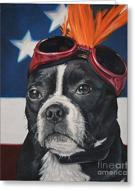 Pet Therapy Greeting Cards - Mickey the Boston Terrier Greeting Card by Melanie Charlton