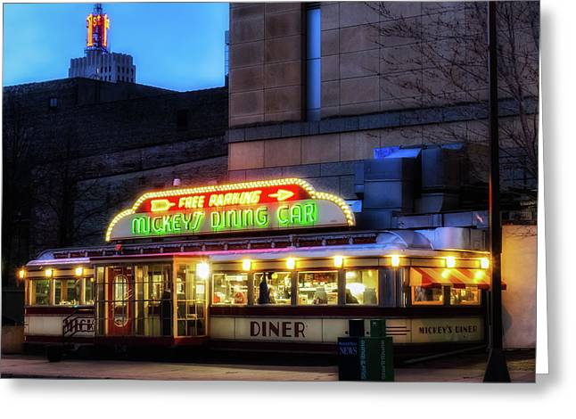 Night Diner Prints Greeting Cards - Mickeys Diner Greeting Card by Ben Cooper