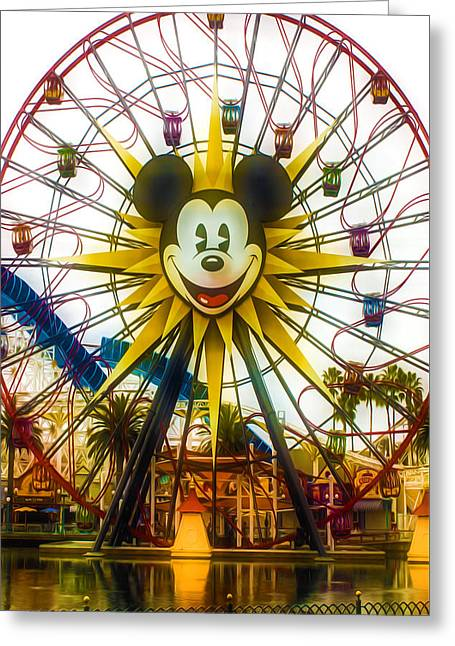 Mickey's Ferris Wheel Greeting Card by Lanjee Chee