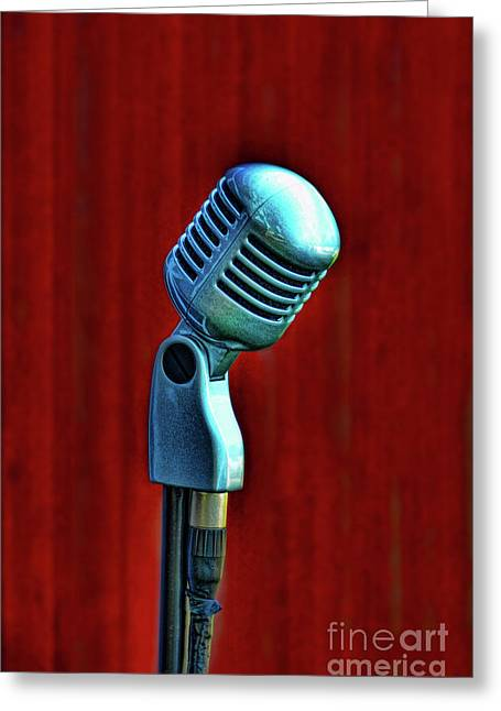 Backgrounds Greeting Cards - Microphone Greeting Card by Jill Battaglia