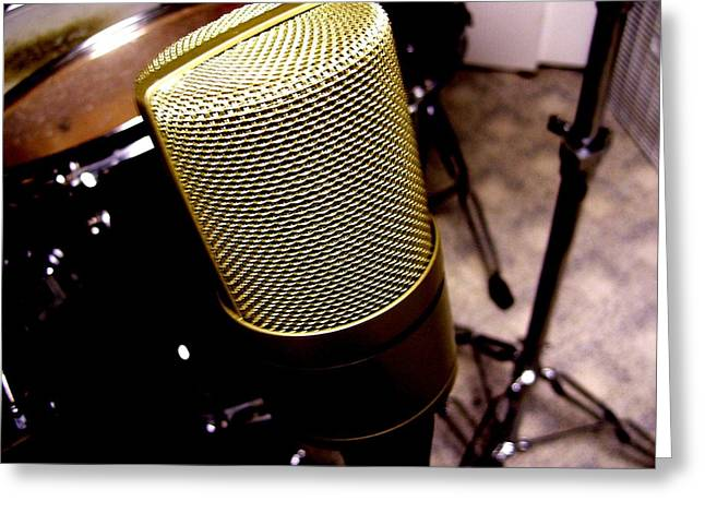 Microphone Greeting Card by Michael Grubb