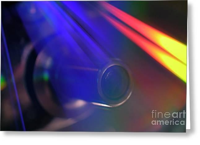 Microscope lens and light beams Greeting Card by Sami Sarkis