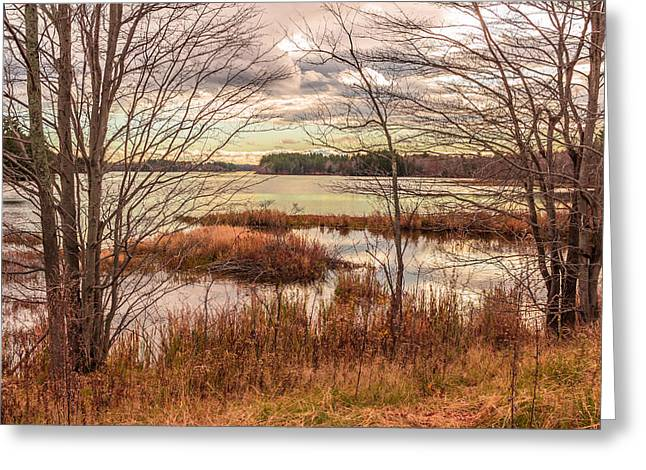 November Afternoon, Annabessacook Lake Greeting Card by Laurie Breton