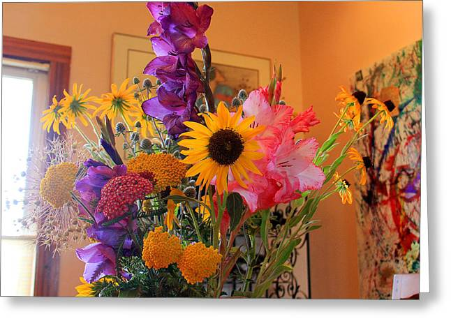 Recently Sold -  - Yellow Sunflower Greeting Cards - Mid-summer Bouquet Greeting Card by Robert W Dunlap