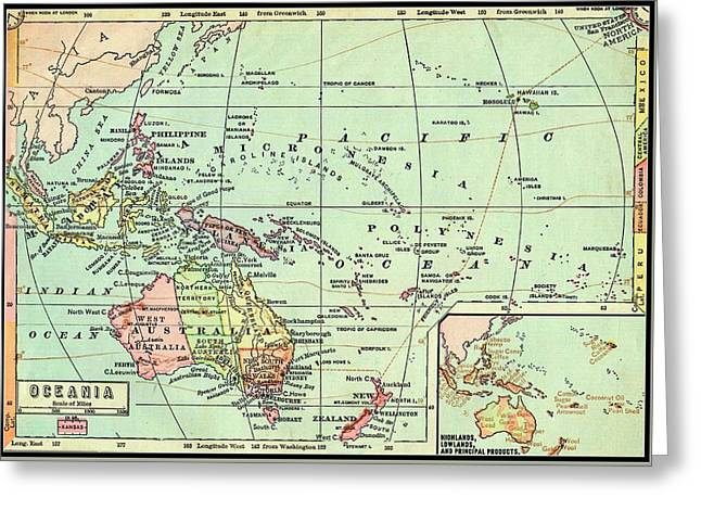 Pacific Ocean Prints Drawings Greeting Cards - Mid Victorian Antique Map of Oceania Greeting Card by Peter Gumaer Ogden