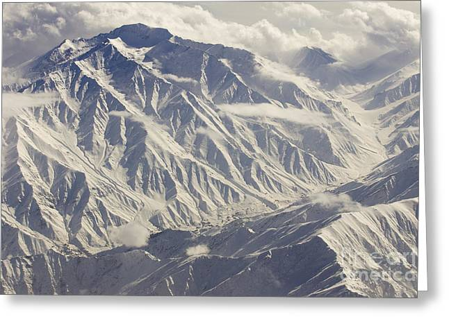 Mountain Valley Greeting Cards - Mid Winter in the Hindu Kush Mountians in Color Greeting Card by Tim Grams
