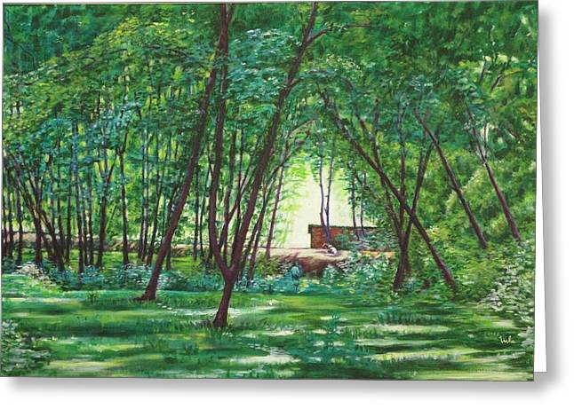 Midday Paintings Greeting Cards - Midday Slumber -Indian Landscapes Greeting Card by Usha Shantharam