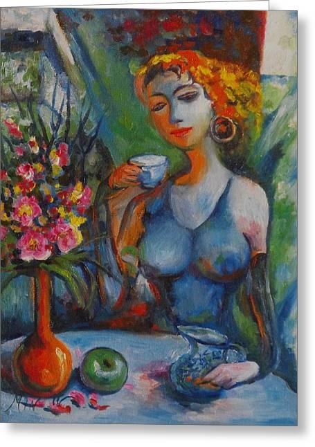 Midday Tea Greeting Card by Min Wang