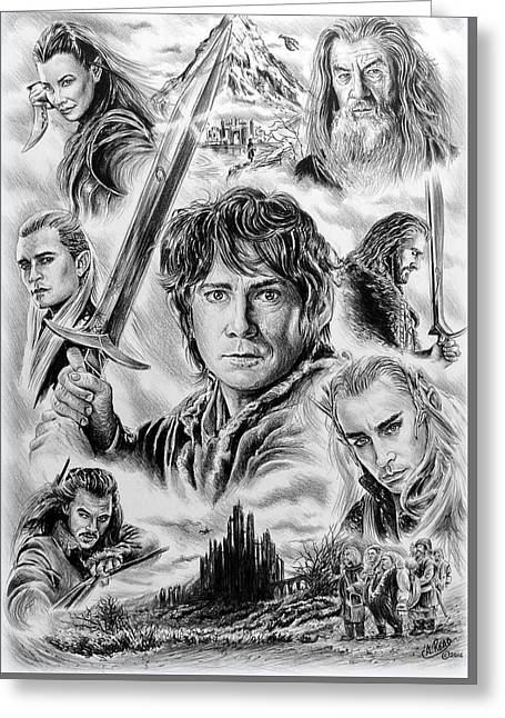 Featured Drawings Greeting Cards - Middle Earth Greeting Card by Andrew Read
