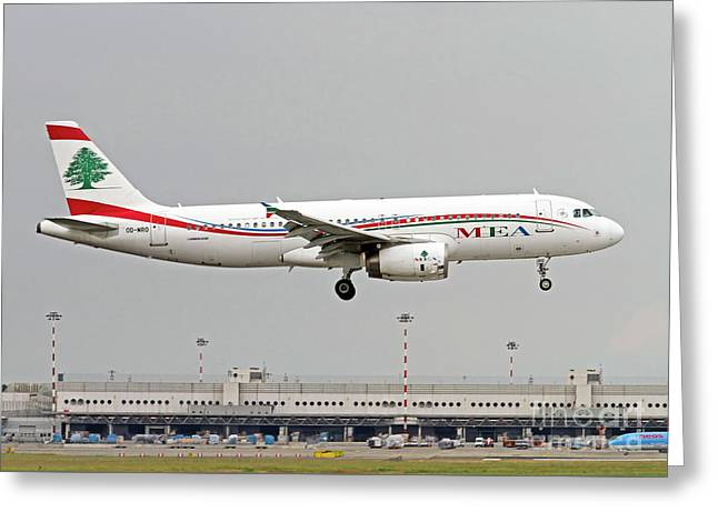 Middle East Airlines Airbus A320-232  Greeting Card by Amos Dor