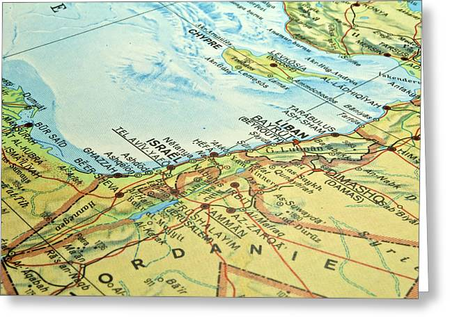 Gaza Greeting Cards - Middle East map. Greeting Card by Fernando Barozza