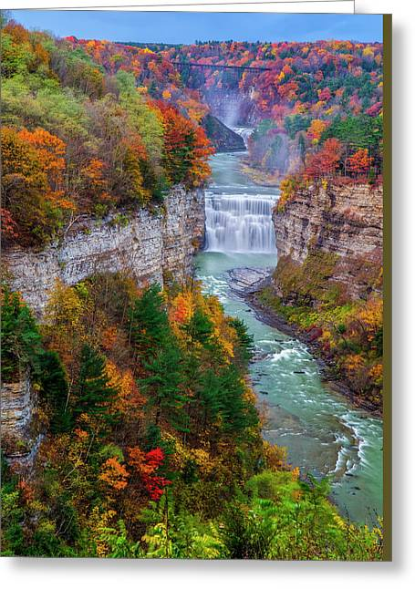 Middle Falls Of Letchworth State Park Greeting Card by Mark Papke
