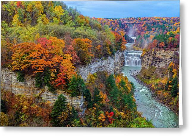 Nature Scene Greeting Cards - Middle Falls Peak Greeting Card by Mark Papke