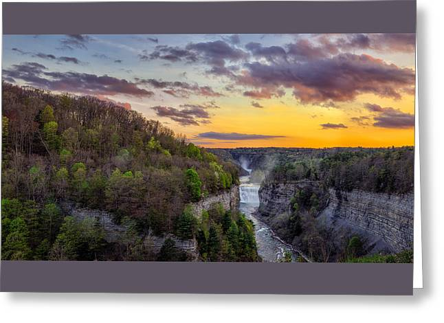 Middle Falls Sunset Greeting Card by Mark Papke