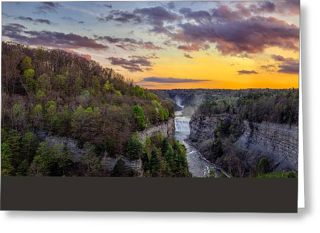 Peaceful Tree At Sunset Greeting Cards - Middle Falls Sunset Greeting Card by Mark Papke