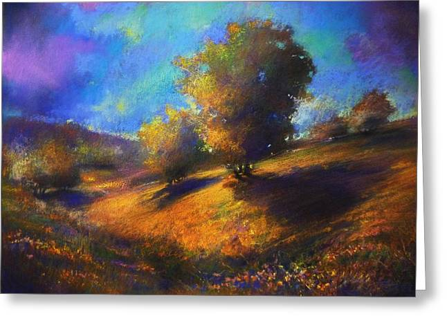 Figural Pastels Greeting Cards - Middle Hylands Meadows Greeting Card by Paul Birchak