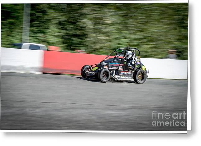 Racecar Number Greeting Cards - Midget racing Greeting Card by Wayne Wilton