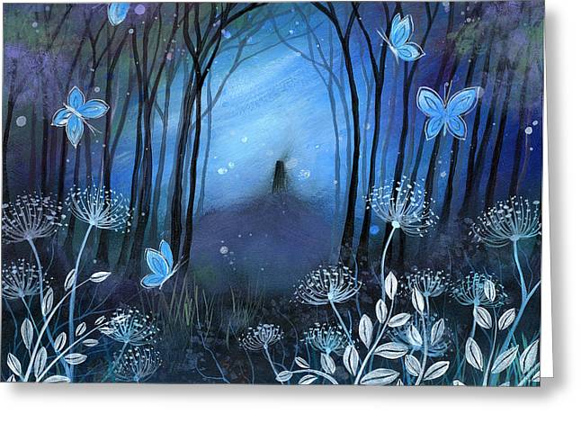 Mystical Landscape Greeting Cards - Midnight Greeting Card by Amanda Clark