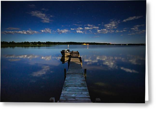 Midnight At Shady Shore On Moose Lake Minnesota Greeting Card by Alex Blondeau