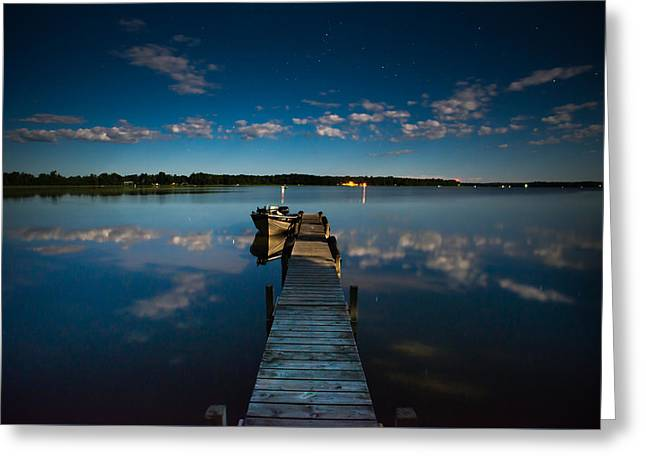 Docked Boat Greeting Cards - Midnight at Shady Shore on Moose Lake Minnesota Greeting Card by Alex Blondeau