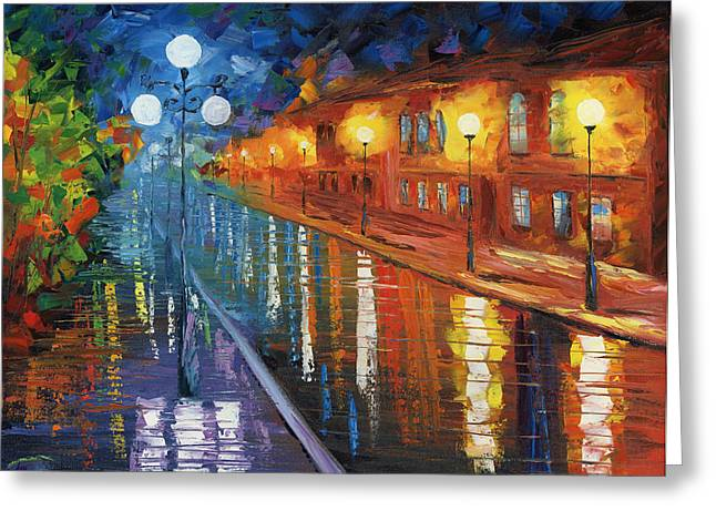 Oil Lamp Greeting Cards - Midnight City Greeting Card by Ash Hussein