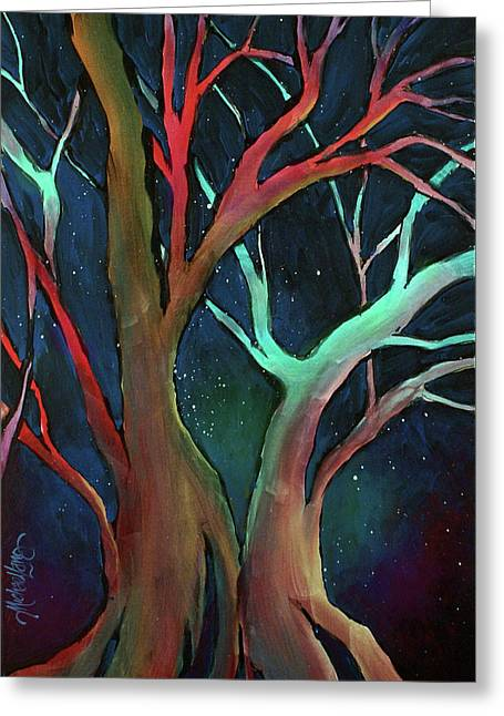 Colorful Trees Greeting Cards - Midnight dance Greeting Card by Michael Lang
