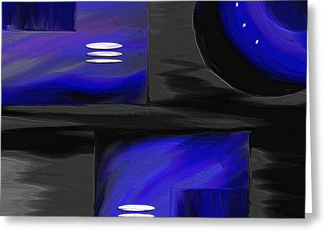 Bold Abstracts Greeting Cards - Midnight Greeting Card by Ely Arsha