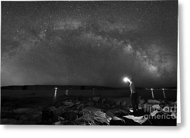 Midnight Explorer At The Waters Edge Bw Greeting Card by Michael Ver Sprill