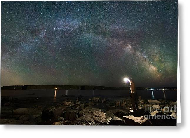 Midnight Explorer At The Waters Edge Greeting Card by Michael Ver Sprill