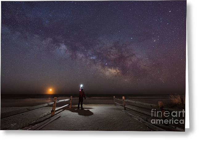 Midnight Explorer Moonrise Milky Way At The Jersey Shore Greeting Card by Michael Ver Sprill