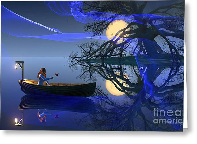 Boats In Water Greeting Cards - Midnight Fantasy Greeting Card by Diana  Voyajolu