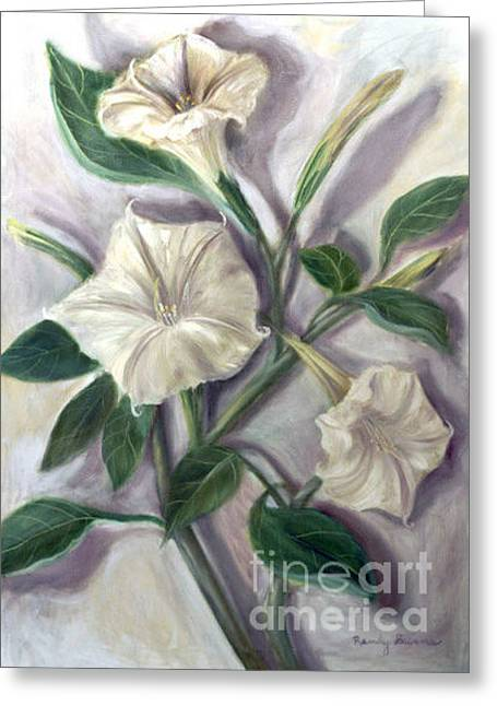 Datura Paintings Greeting Cards - Midnight Ghost Greeting Card by Randy Burns