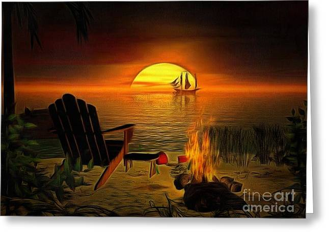 Print On Canvas Greeting Cards - Midnight In ambiance Greeting Card by Catherine Lott