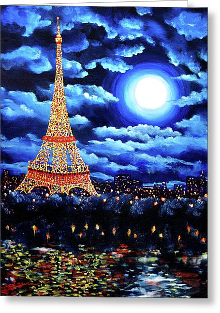 Midnight In Paris Greeting Card by Laura Iverson