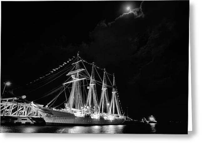 Sailboats In Harbor Photographs Greeting Cards - Midnight in Pensacola Black and White Greeting Card by JC Findley