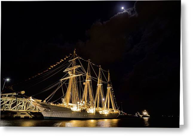Sailboats In Harbor Greeting Cards - Midnight in Pensacola Greeting Card by JC Findley