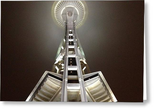 Downtown Sculptures Greeting Cards - Midnight In Seattle Greeting Card by Zach McCoy