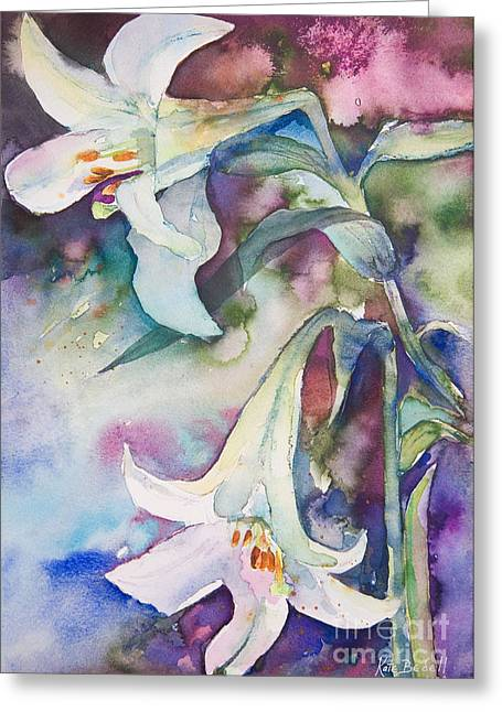 Kate Bedell Greeting Cards - Midnight Lilies Greeting Card by Kate Bedell