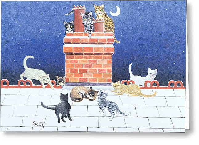 Cute Kitten Drawings Greeting Cards - Midnight Madness Greeting Card by Pat Scott