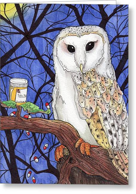Medication Paintings Greeting Cards - Midnight meds Greeting Card by Julie McDoniel