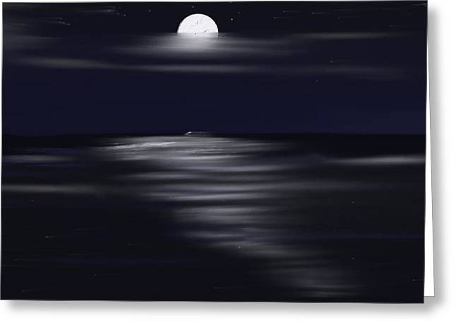 Skylines Pastels Greeting Cards - Midnight Moonlight Greeting Card by Jerod Roberts