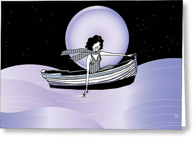Midnight Moonlit Sail Greeting Card by Cecely Bloom