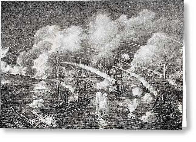 Engagement Picture Greeting Cards - Midnight Naval Bombardment Of Fort Greeting Card by Ken Welsh