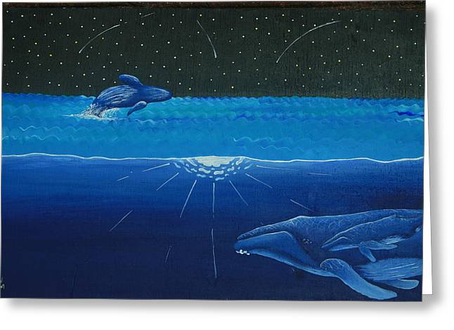 Humpback Whale Paintings Greeting Cards - Midnight Greeting Card by Nick Flavin