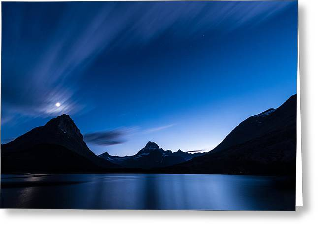 Exposure Greeting Cards - Midnight Over Glacier National Park Greeting Card by Steve Gadomski