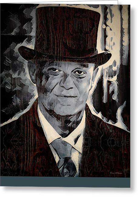 Film Noir Mixed Media Greeting Cards - Midnight Rendevouz Greeting Card by Pennie  McCracken