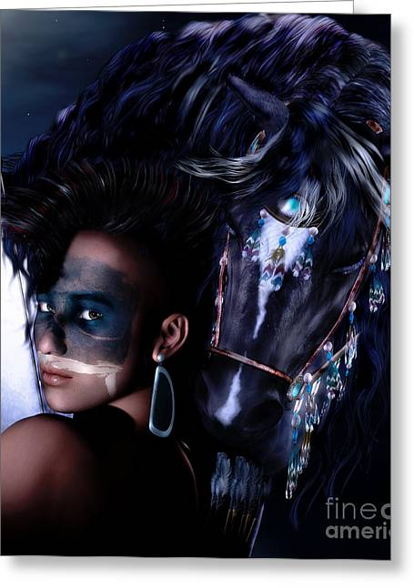 Native American Woman Greeting Cards - Midnight Ride Greeting Card by Shanina Conway