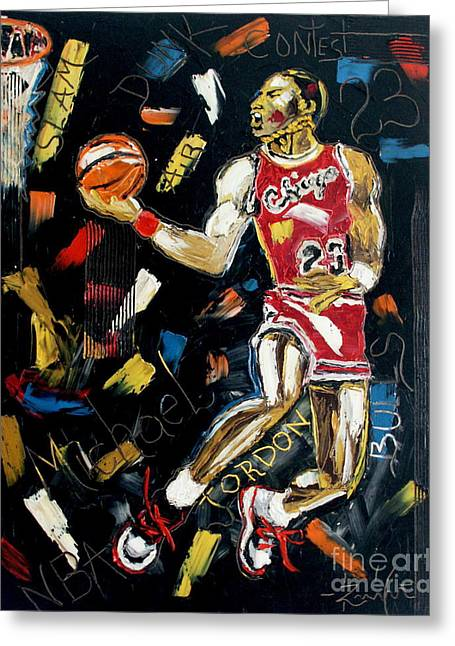 Michael Jordan Greeting Cards - Midnight Slam Greeting Card by Wayne LE ONE