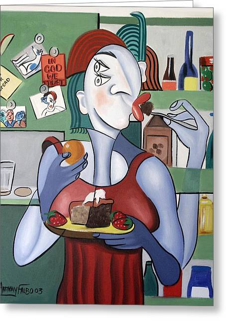 Cubist Greeting Cards - Midnight Snack Greeting Card by Anthony Falbo
