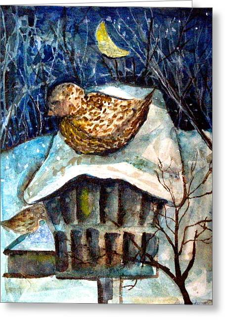 Sparrow Mixed Media Greeting Cards - Midnight Sparrow Greeting Card by Mindy Newman